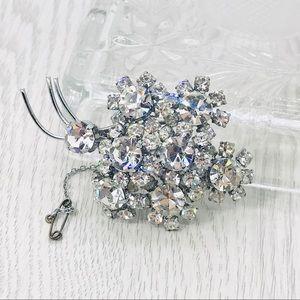 Vintage rhinestone ice wedding brooch